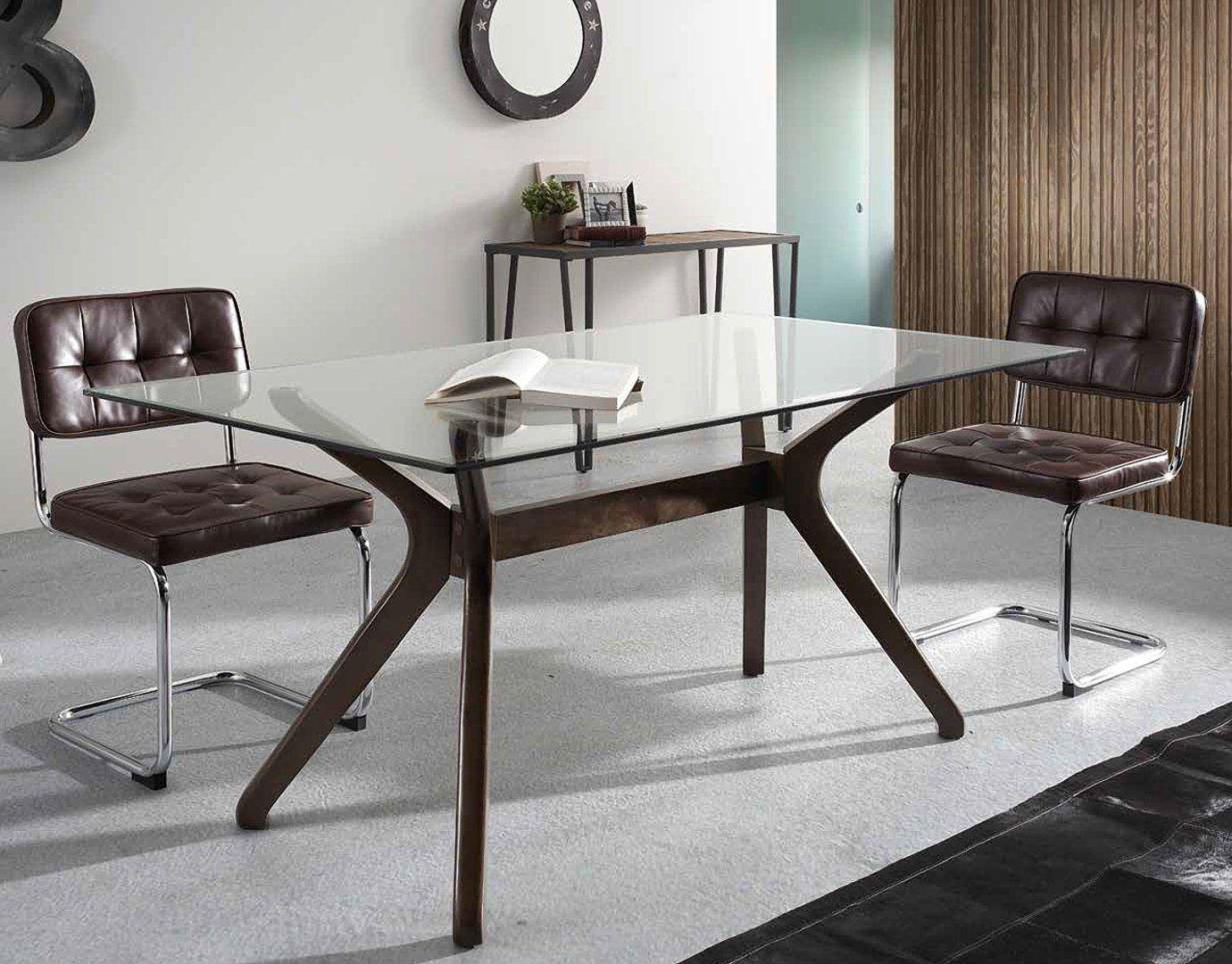 Mesa de comedor cristal olaf vintage muebles decorar for Mesa salon comedor