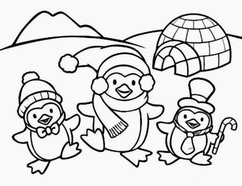 Disegni Di Natale Da Colorare Tre Allegri Pinguini Con Sciarpa E