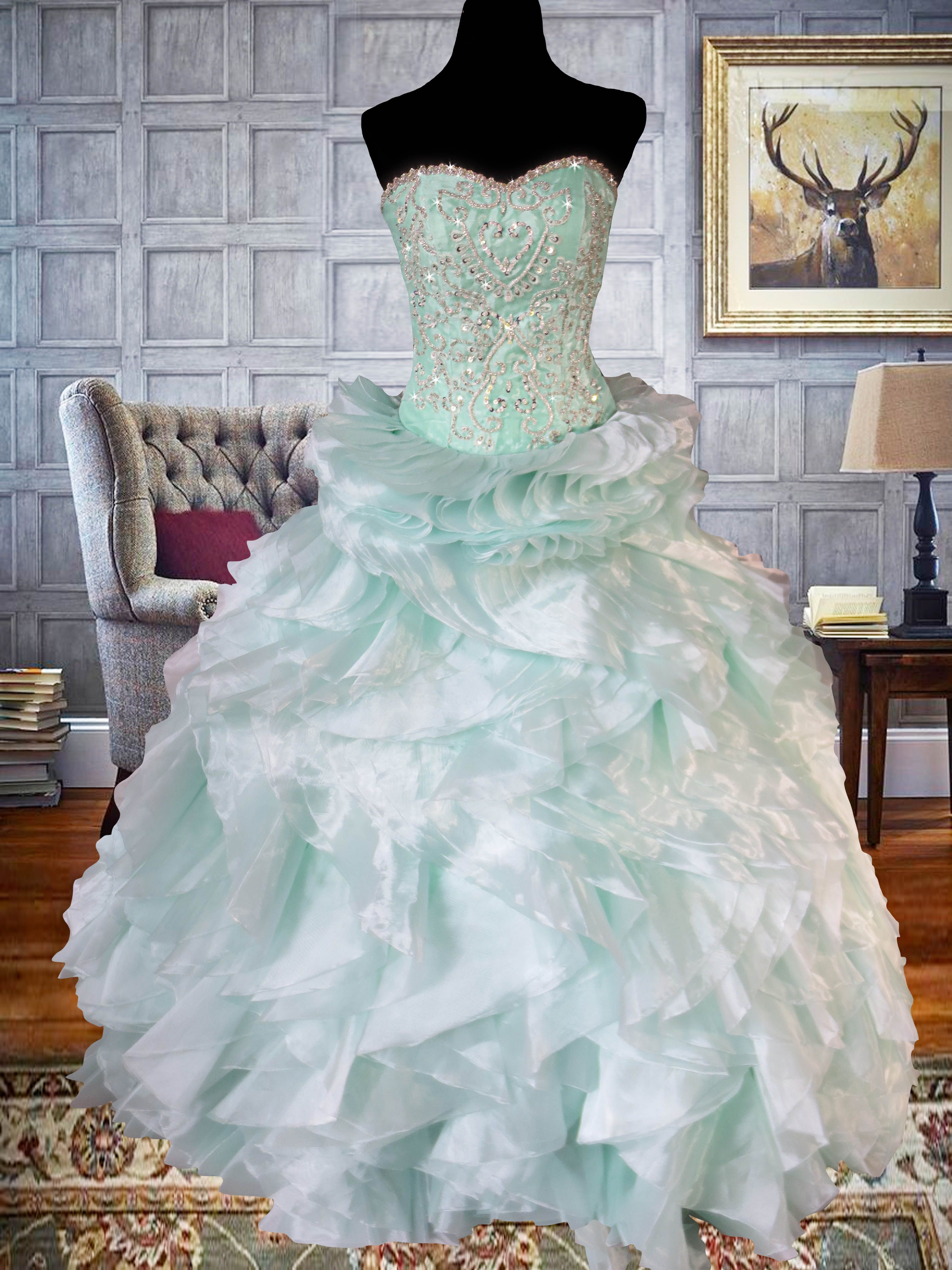 pastel mint green ball gown with lace applique and crystal beadwork ...