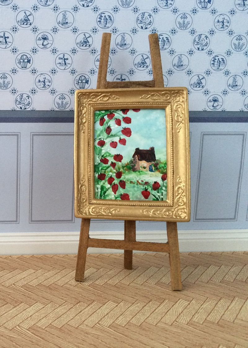 Poppy Cottage landscape Framed Original Miniature dollhouse painting Dolls House Art 1:12 scale by ArtInWax on Etsy