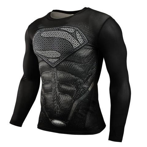 New Fitness Compression Men Superman Bodybuilding Long Sleeve Marvel Rash Guard Men's Clothing Activewear