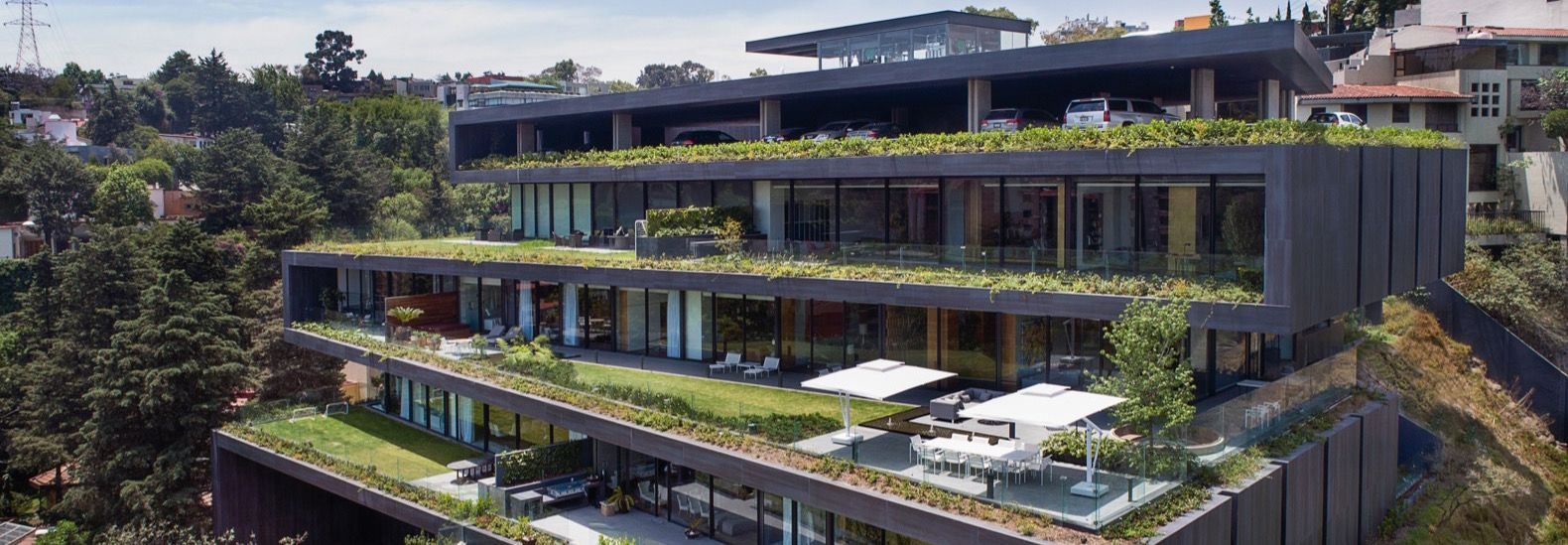 Zigzagging green terraces make up a luxury residential