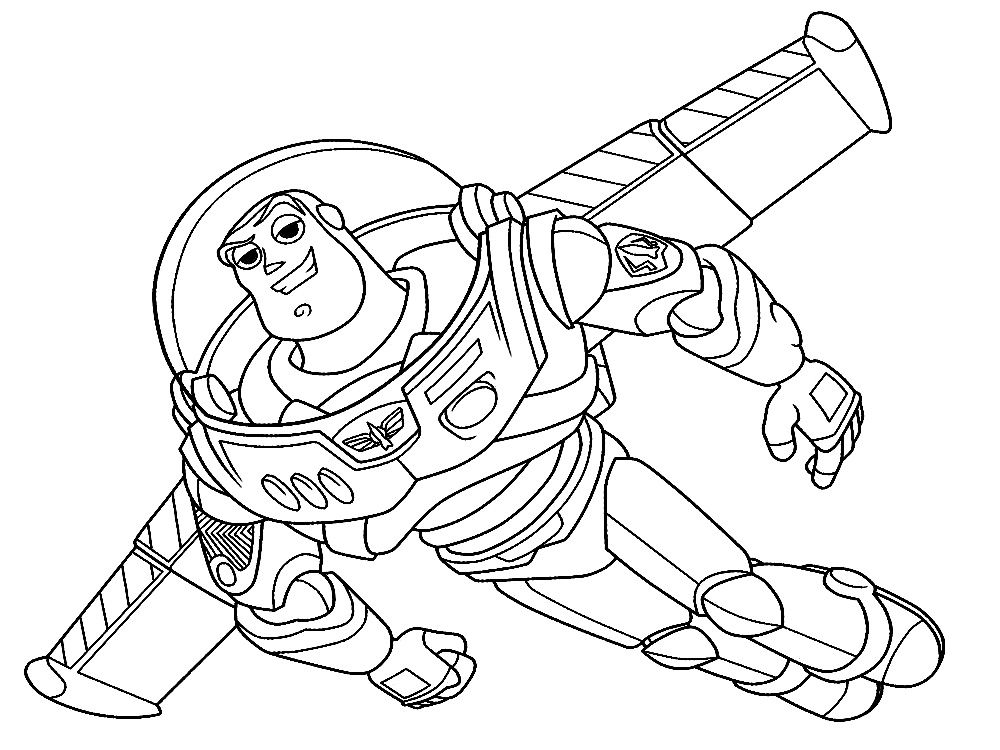 Buzz Lightyear Running Coloring Page