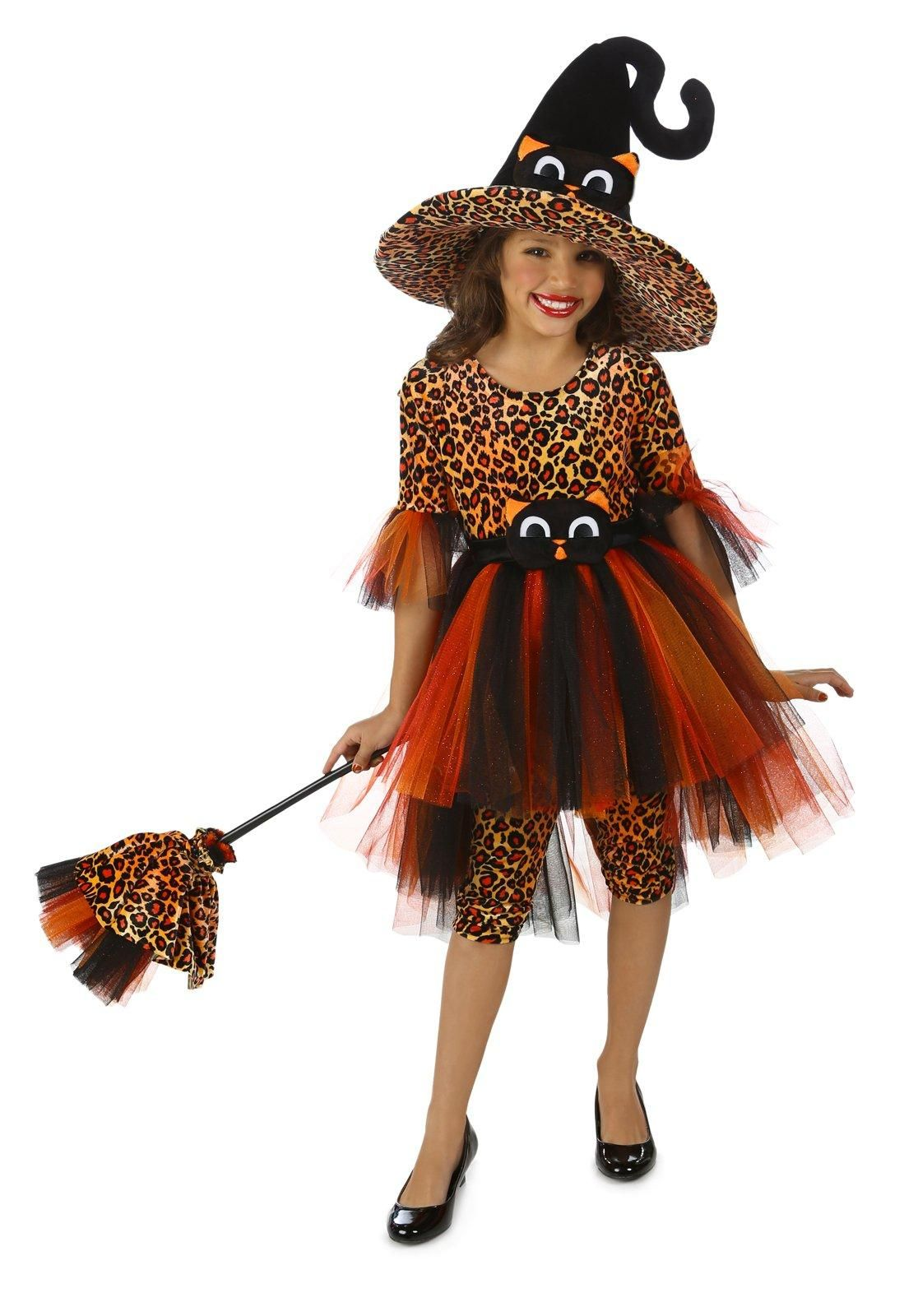 Deluxe Girls Orange Kitty Witch Costume from