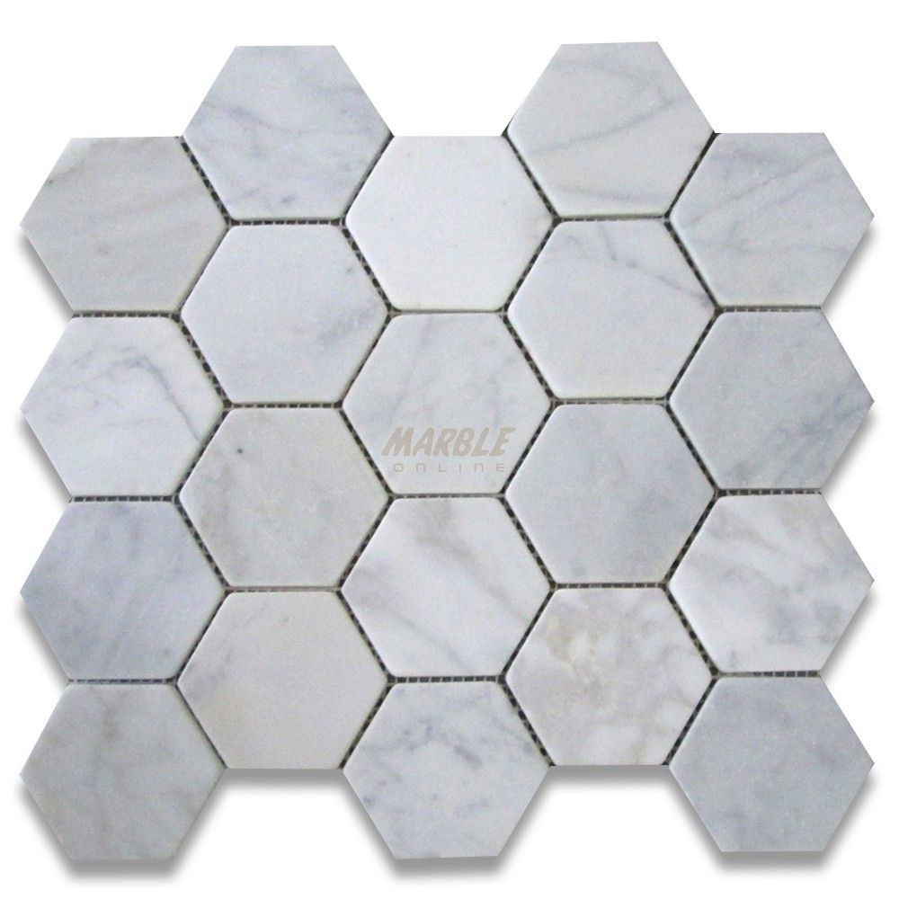 Carrara White Marble Polished Inch Hexagon Mosaic Tile BOX OF - 2 carrara marble hexagon floors