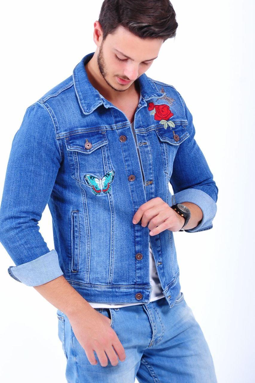 Gul Kelebek Islemeli Acik Mavi Kot Ceket Giyim Indirim Kampanya Bayan Erkek Bluz Gomlek Trenckot Hirka Etek Yelek Mont K Kot Ceket Erkek Kot Moda