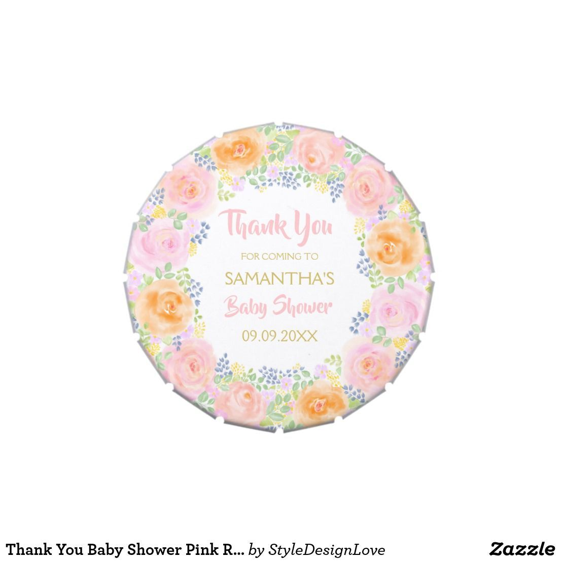 Thank You Baby Shower Pink Roses Watercolor Floral Candy Tin  baby