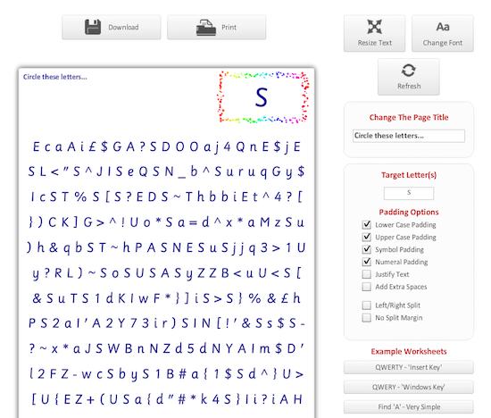 Buchstaben- und/oder Zahlensuche (Arbeitsblattgenerator