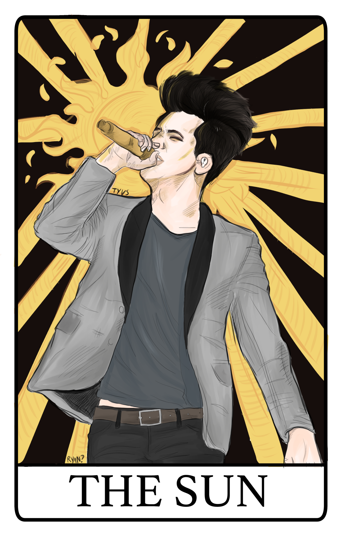 i drew a brendon urie tarot card type thing and you can buy it on redbubble here!!! and you can give it a fave or a rt on twitter here if you feel like possibly getting brendon to notice it (please...