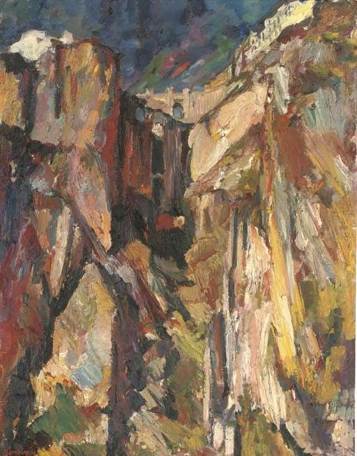 David Bomberg (1890-1957) : British : Ronda : In the Gorge of Tajo