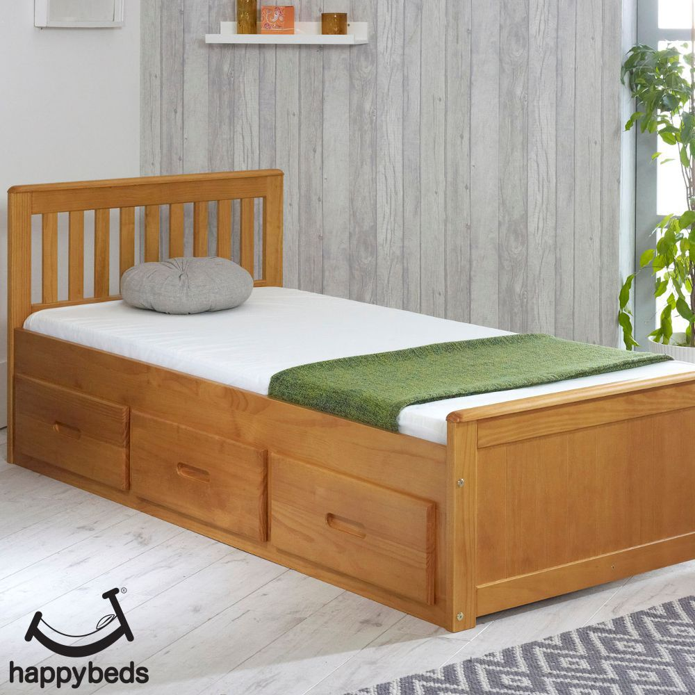 Mission Honey Pine Wooden Storage Bed In 2020 Bed Frame With Storage