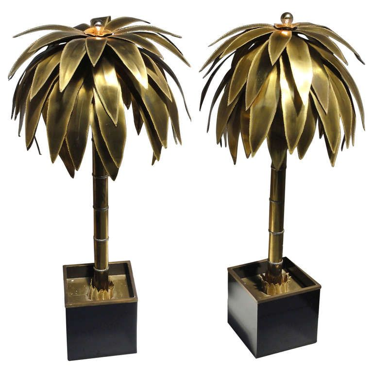 Stunning Pair Of Maison Jansen Br Gilded Metal Palm Tree Floor Lamps At 1stdibs