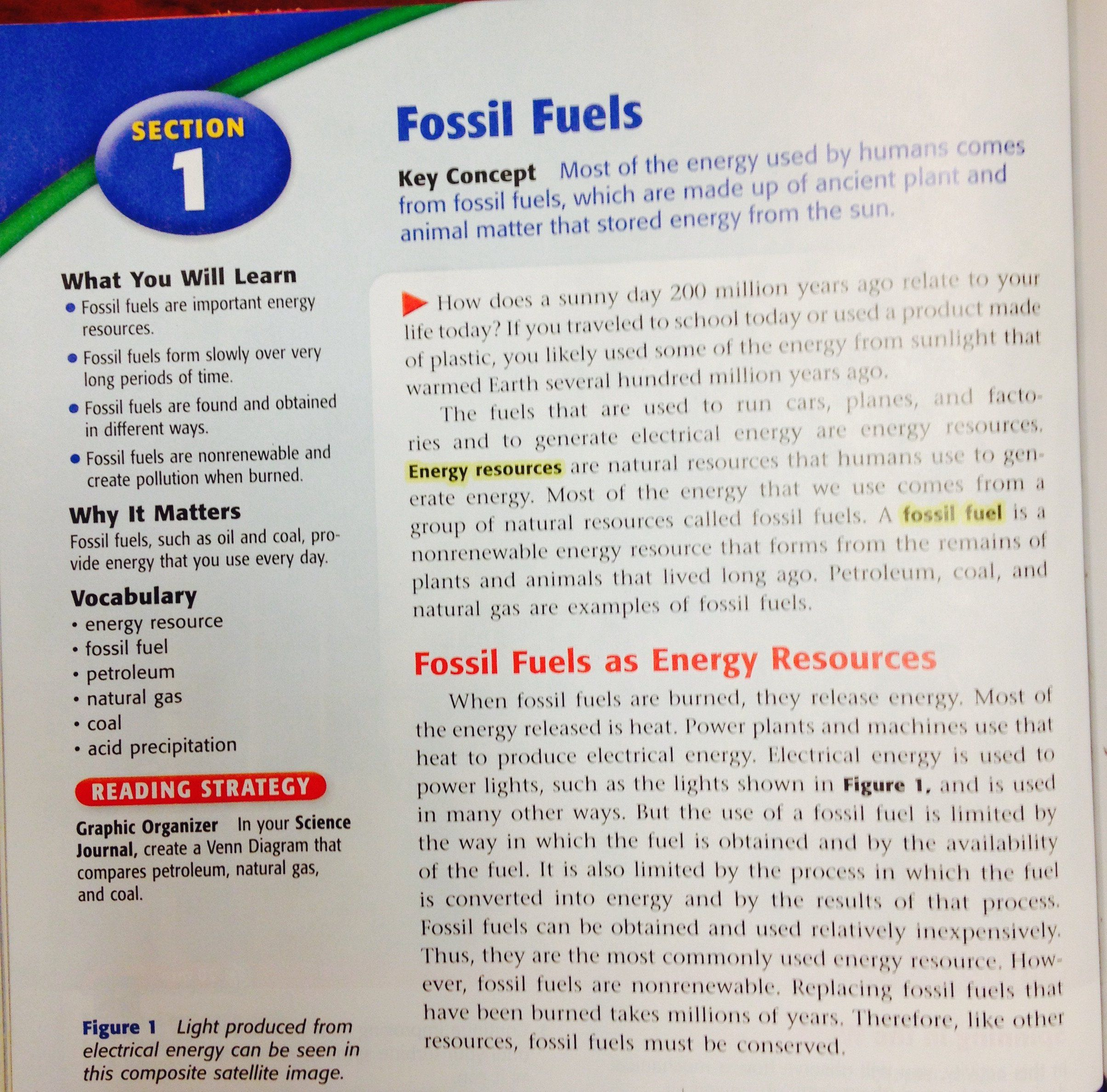 Fossil Fuels Worksheet Middle School Renewable And