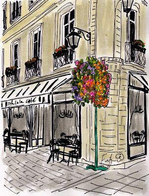 Fifi Flowers Painting Du Jour Gallery Ooh La La Cafe Avec Black Chandeliers Watercolor City Paris Art Water Painting