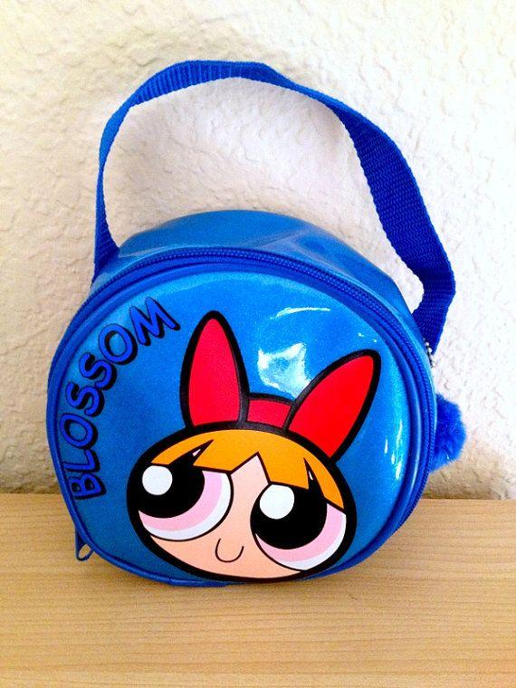 186c560f141df Rare 90s Powerpuff Girls Blossom Blue Glitter Purse Bag With Pompom Keychain