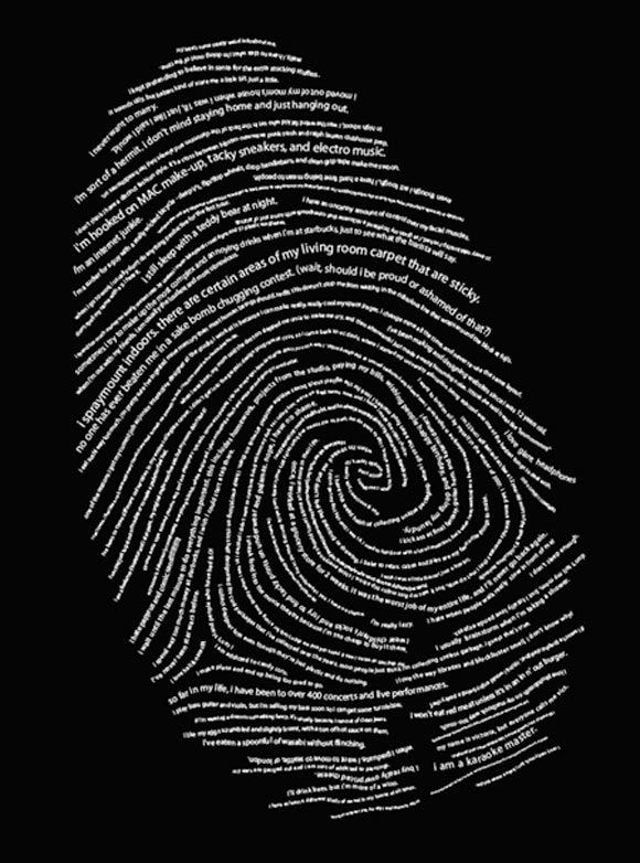 this is awesome. typographic autobiography. a fingerprint made of ...