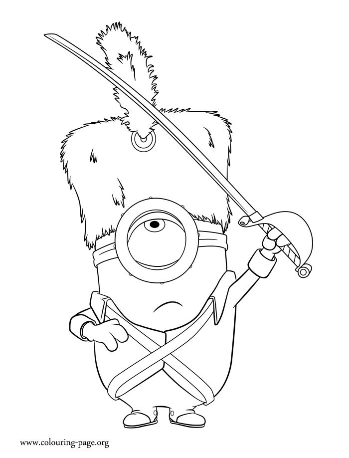 In This Beautiful Picture Stuart Is Dressed As A Real Guard Have Fun Coloring Free Minions Movie Page