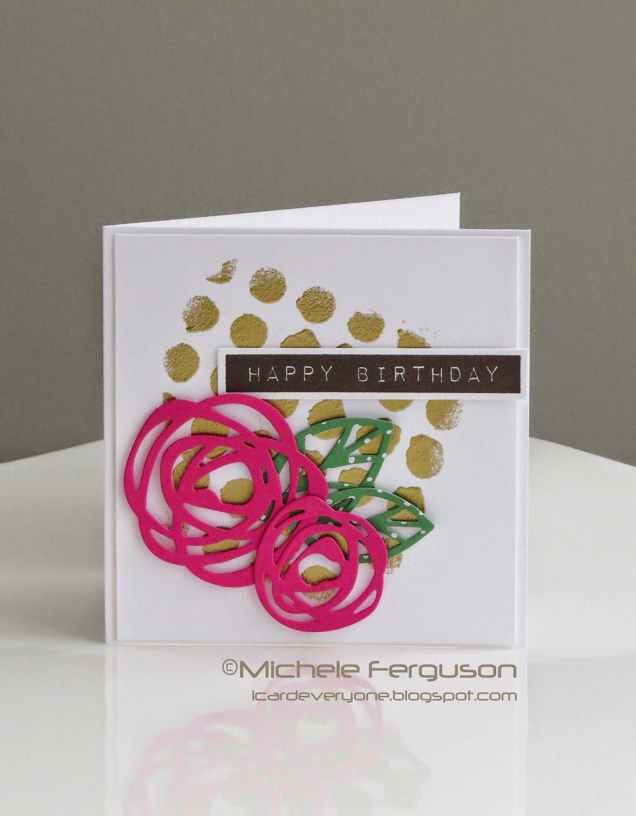 Birthday Dots Card by Michele Ferguson using #EssentialsbyEllen dies. #PinSightsChallenge #ellenhutsonllc #BoldBlooms