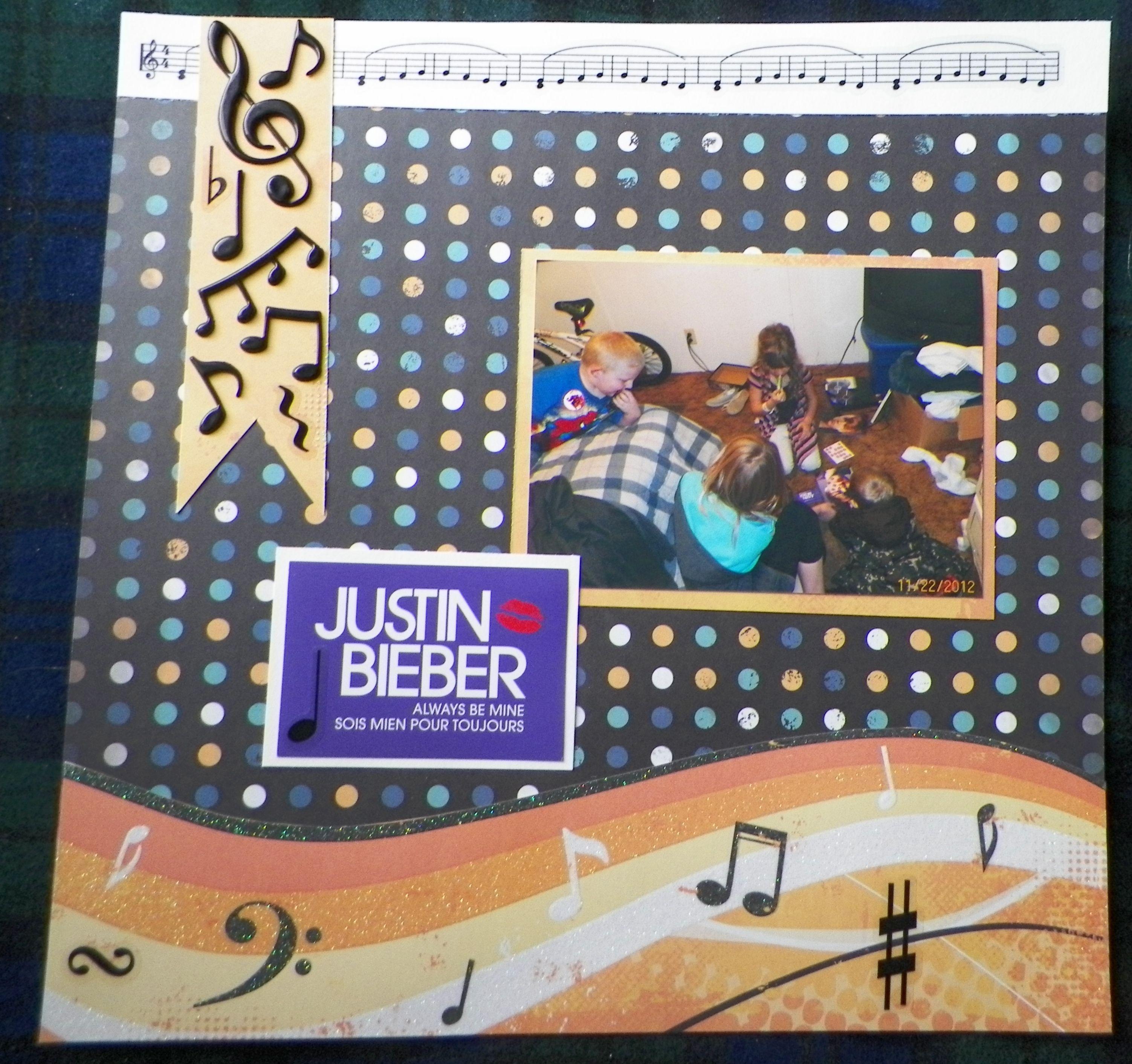 Scrapbook ideas music - Handmade Scrapbook Layout Games Justin Bieber Music