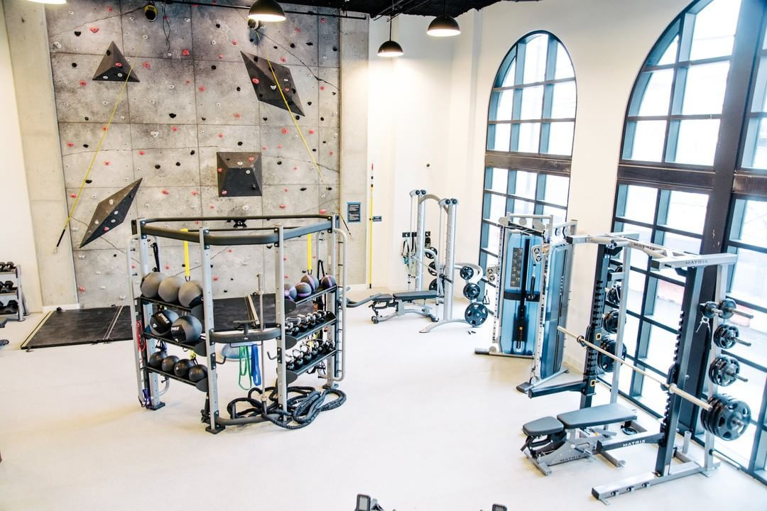 Who Says Fitness Can T Be Fun At Olmsted We Have A Two Level Fitness Center Complete With A Climbing Wall Howeve Fitness Center Workout Space Climbing Wall