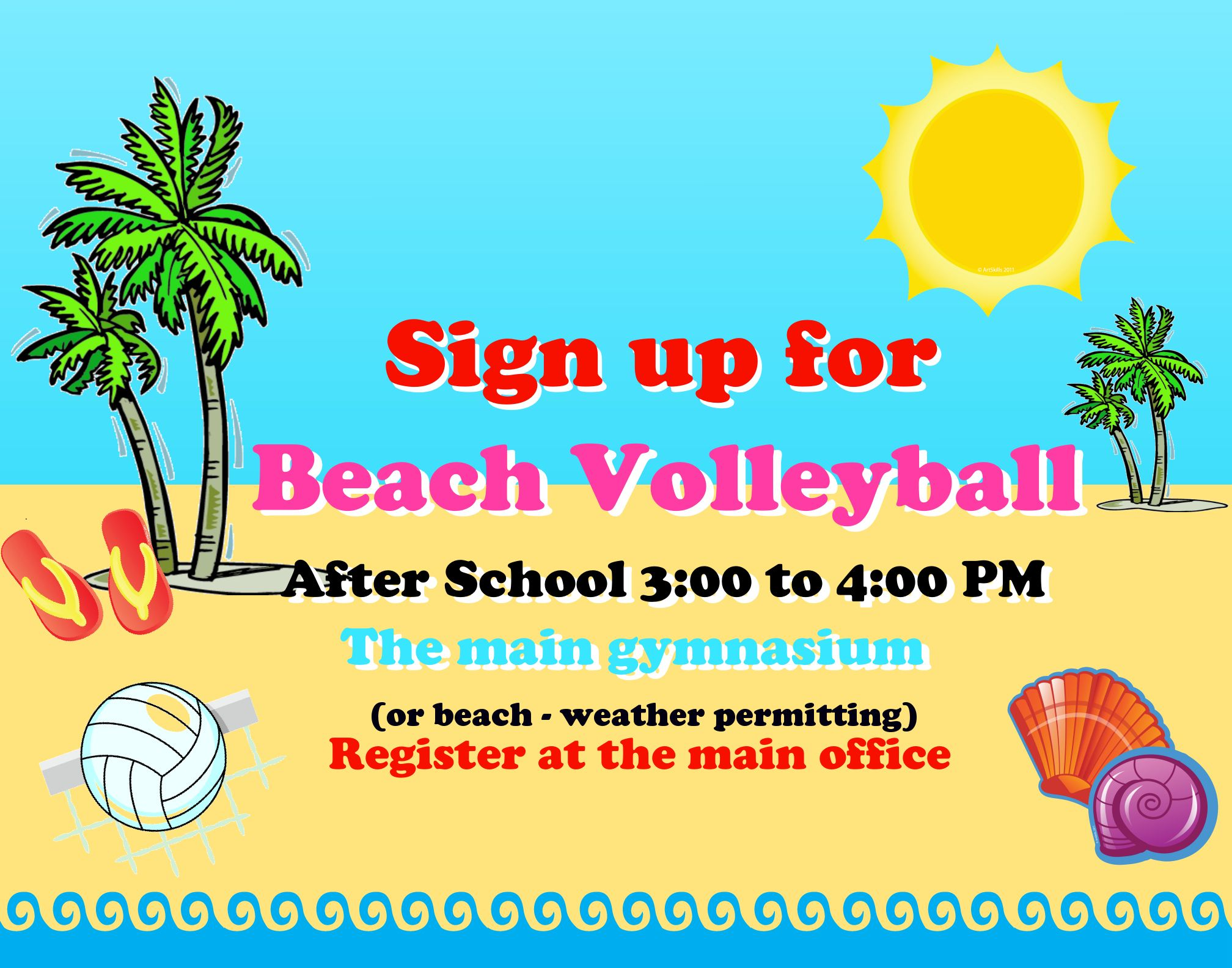 create a poster about beach volleyball after school sports poster