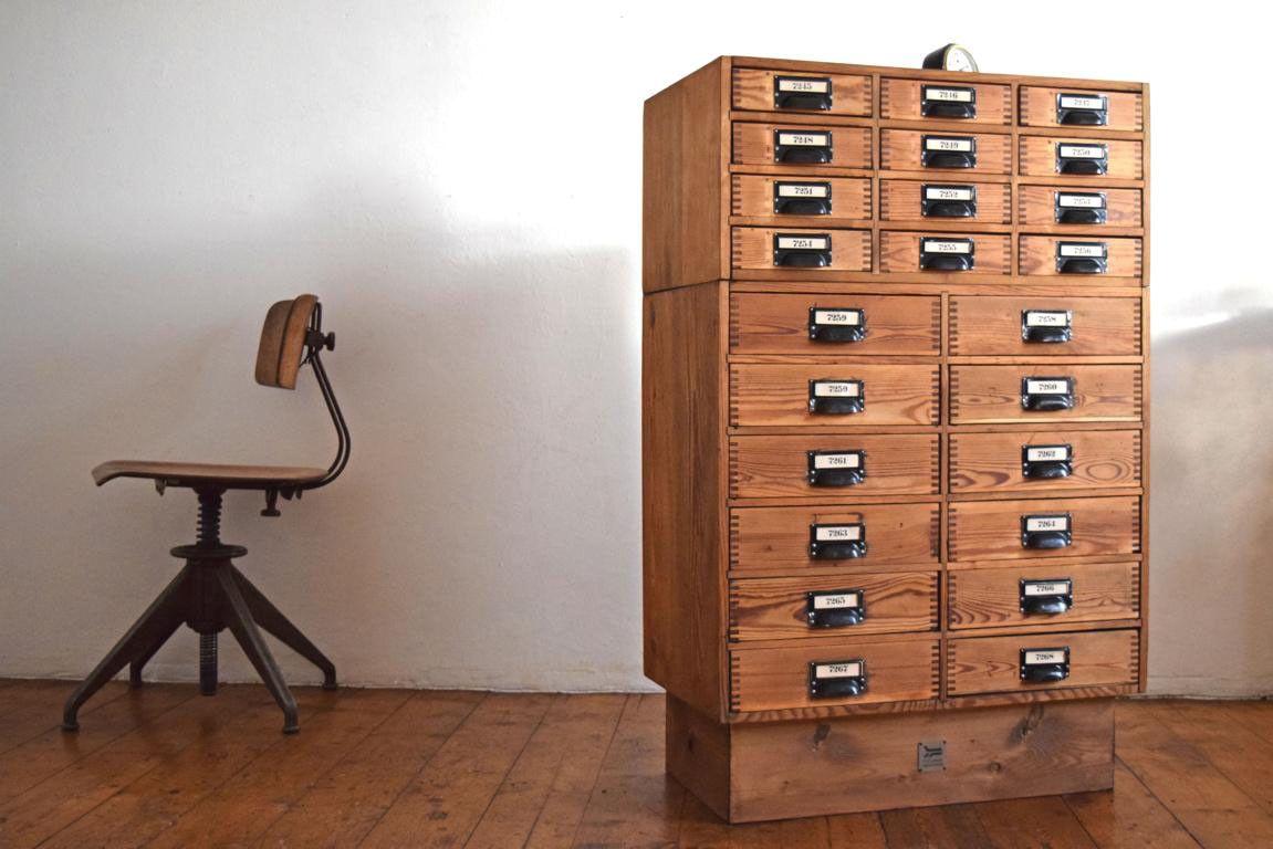 Loft Kommode Büro Schrank Apothekerschrank Schubladenschrank Aktenschrank Antik