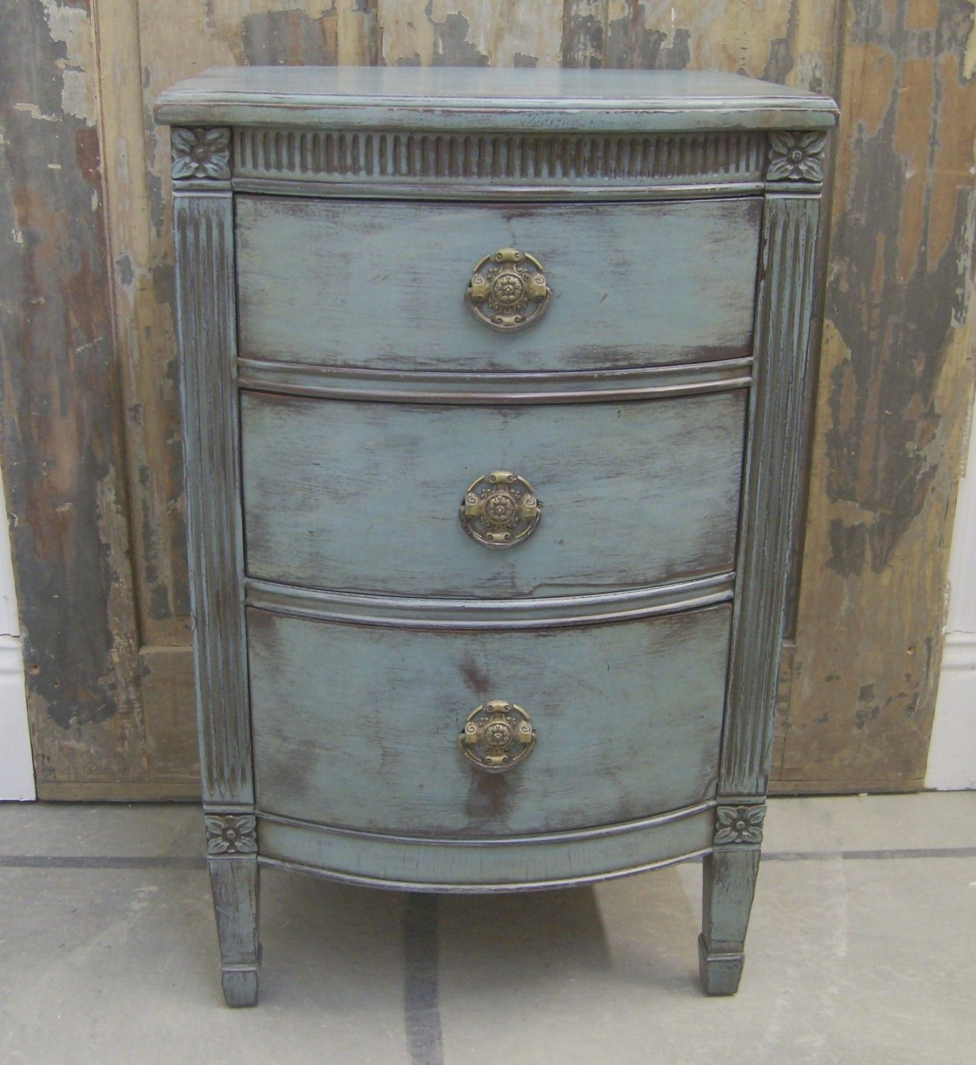 Shabby Blue Painted 1940\'s Nightstand / End Table -Chic | Finishes ...