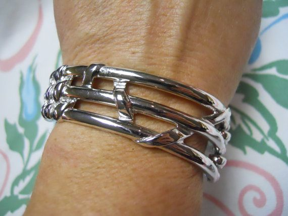 Monet Hinged Silver Bracelet  Signed Monet Woven by mamiezvintage, $12.95