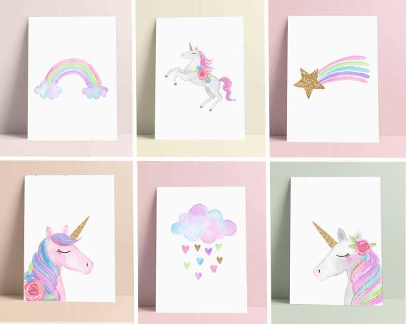 Set Unicorn Wall Art Weather Rainbow Print Nursery Decor S Digital