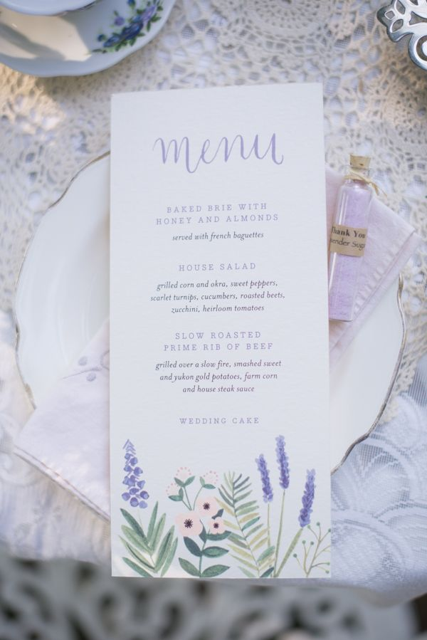 lavender wedding menu ideas http://www.weddingchicks.com/2013/10/14/tea-party-wedding-ideas/