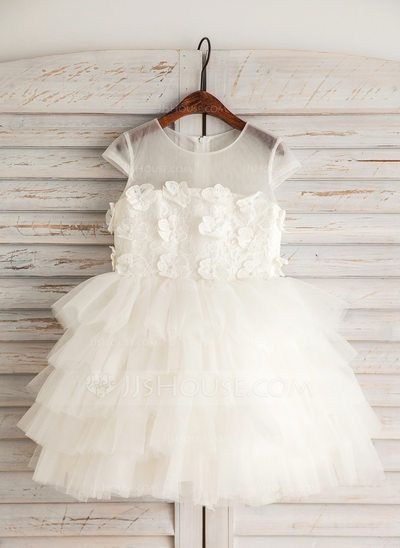 87d69c8d3ac  US  58.19  Empire Knee-length Flower Girl Dress - Satin Tulle Lace Cotton Short  Sleeves Scoop Neck With Beading Flower(s)