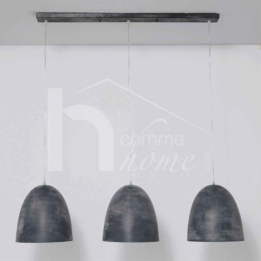 Luminaire Suspension Design Noir Claudio 3 Lampes Luminaires