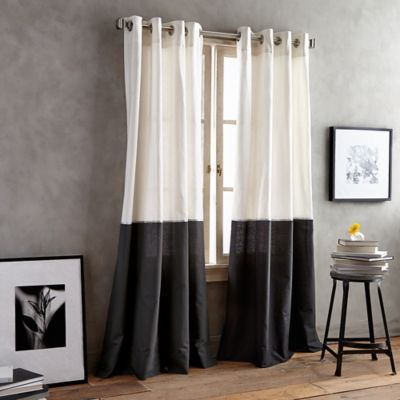 Dkny Color Band 108 Grommet Top Window Curtain Panel In Black