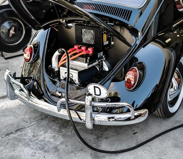 One of two battery packs installed in each Zelectric Bug.