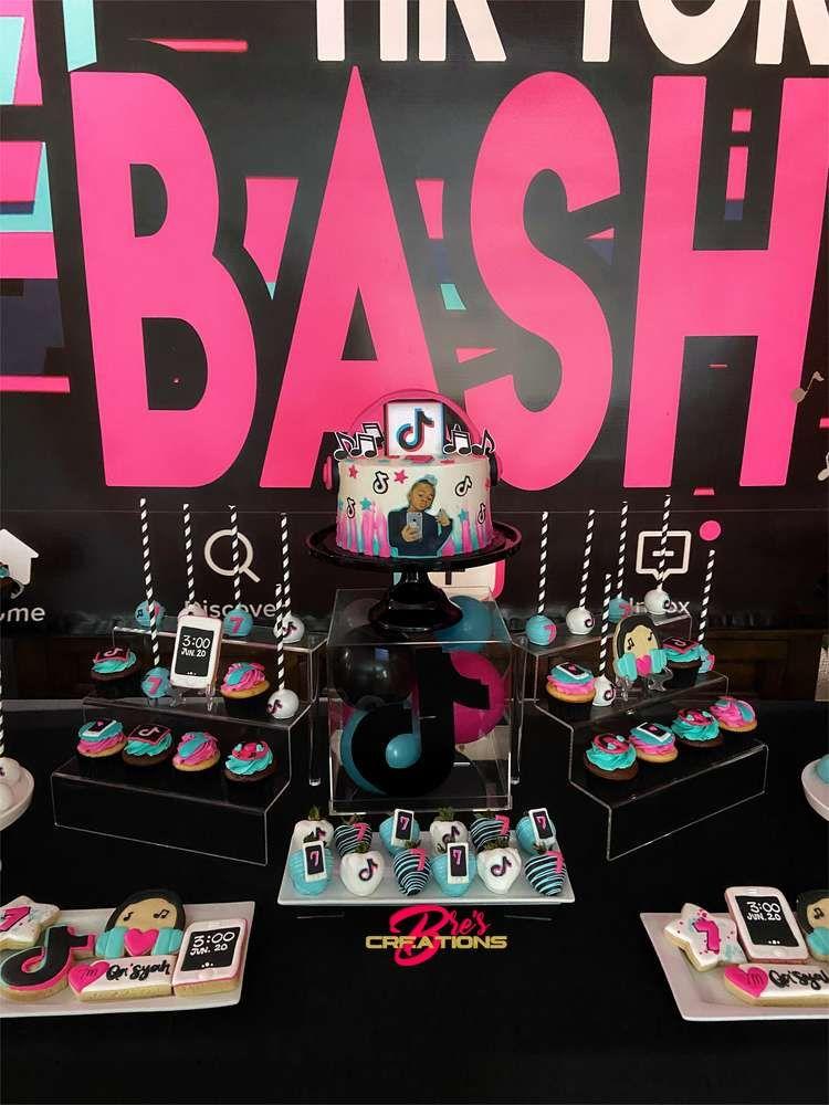 Tiktok Inspired Theme Birthday Party Ideas Photo 9 Of 27 Birthday Surprise Party Birthday Party Themes Cool Birthday Cakes