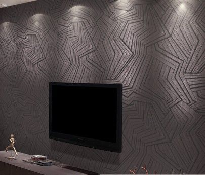 Dark non woven fabric modern background living room texture black wall paper roll for tv unit Textured wall in living room