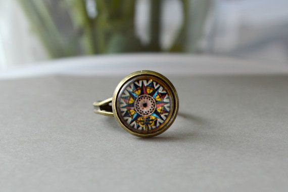 Antique Compass Ring, Aztec Glass Ring, Glass Dome Adjustable Ring Under 25, 15 - J125-3 on Etsy, $12.00
