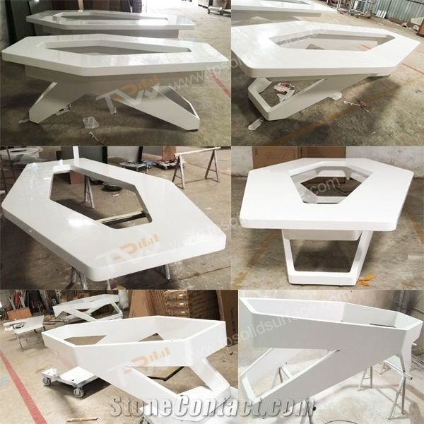 White Artificial MarbleAcrylic Solid Surface Conference Table - Marble conference table for sale