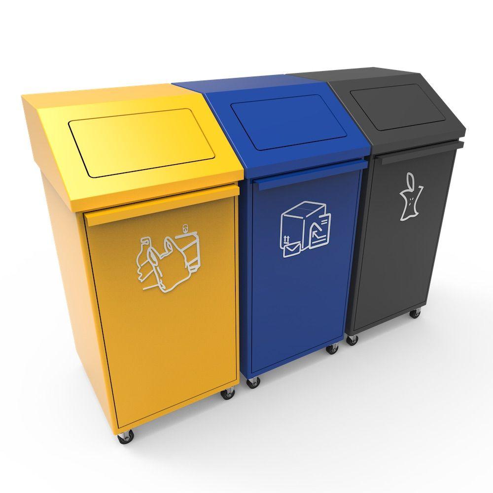 Pori Poubelle Tri Recyclage Avec Couvercle Basculant Et Roues