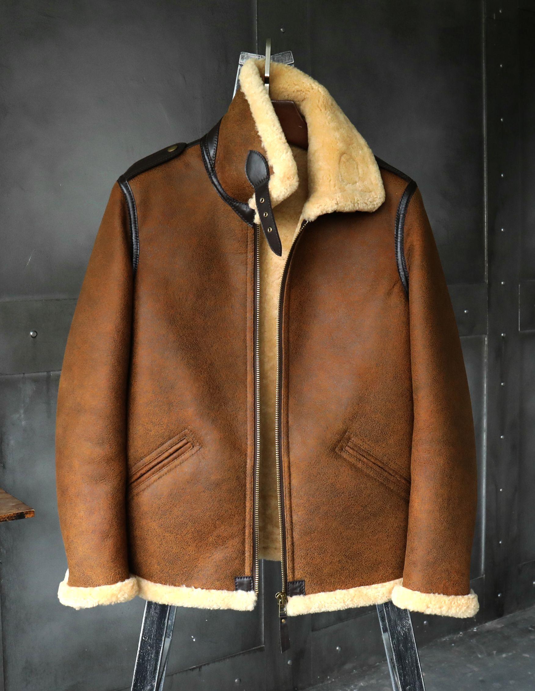 56a7c777b56 Denny Dora Mens Sheepskin Shearling Jacket B3 Flight Jacket Imported Wool  from Australia Short Leather Jacket Mans Fur Coat