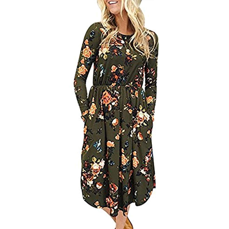 Womenus long sleeve floral print pockets swing pleated empire waist