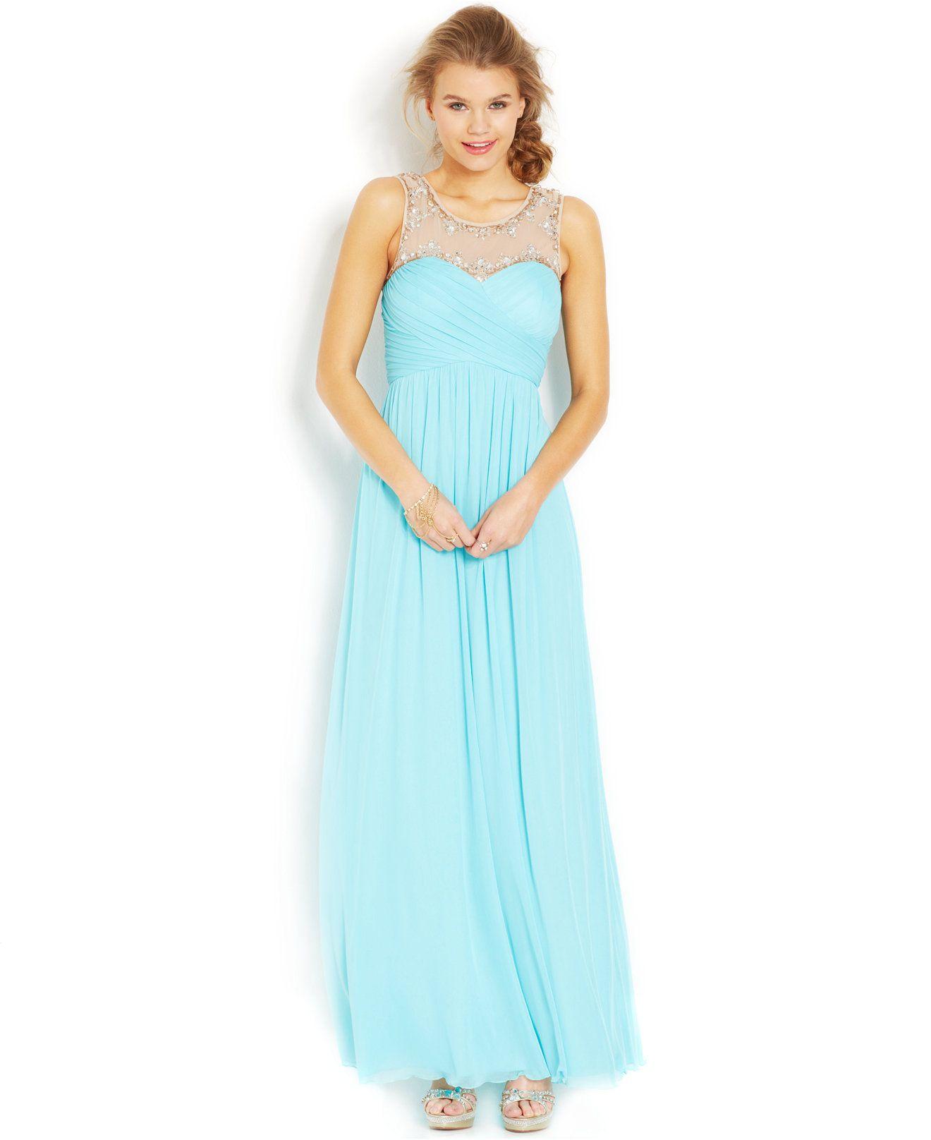 City studios juniorsu beaded illusion gown juniors shop all prom