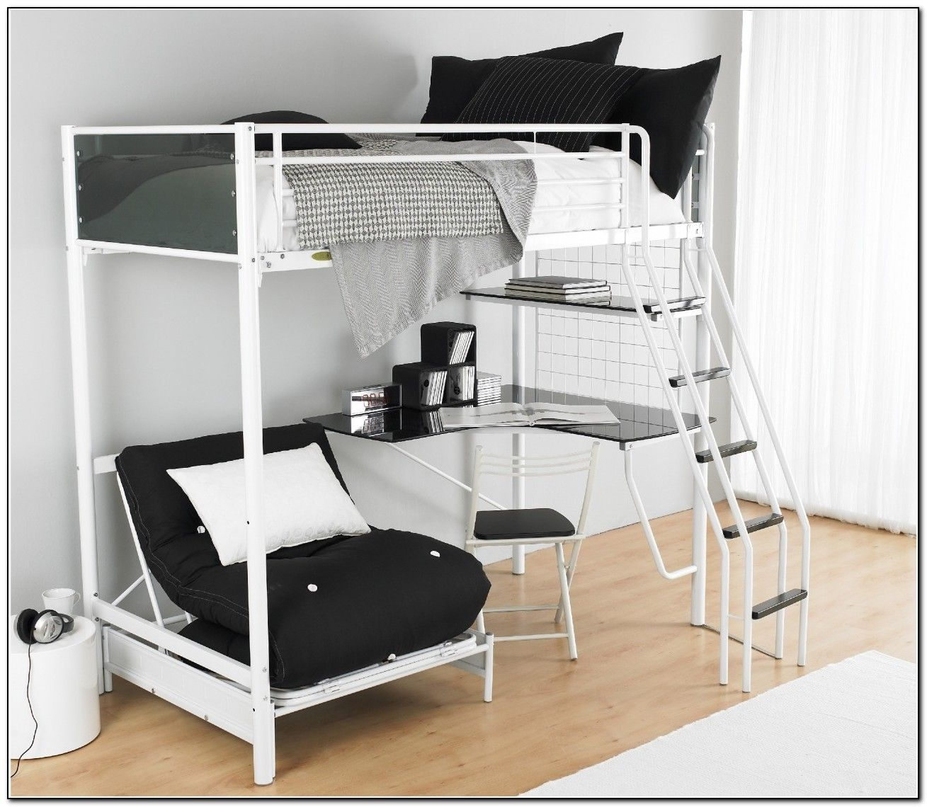 Metal loft bed ideas  Captivating Bunk Beds with Desk and Fluffy Black Sofa for Modern