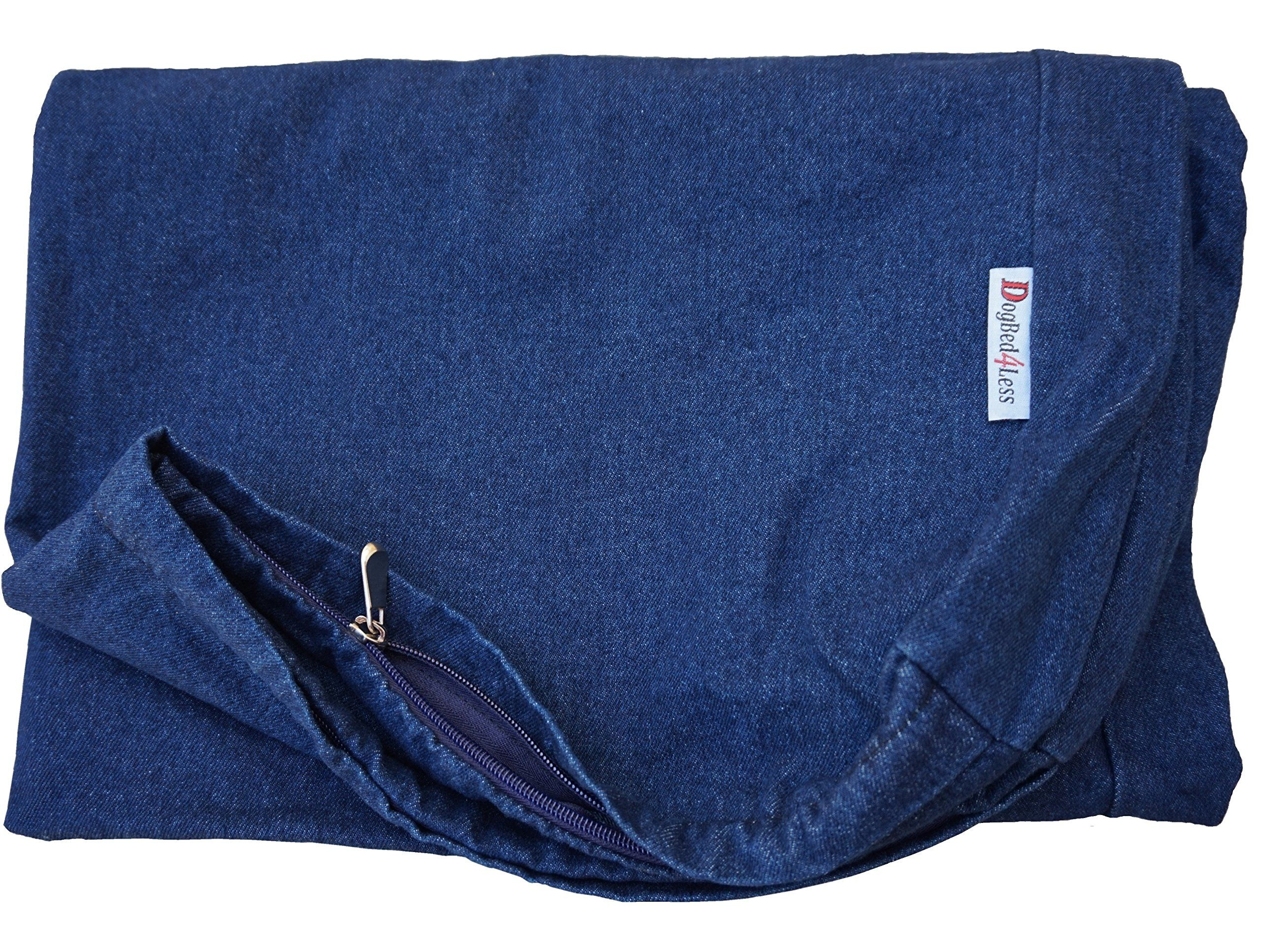 Dogbed4less 40X35X4 Inches Blue Color Durable Denim Jean
