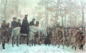 George Washington at Valley Forge | General George Washington sits astride his horse as snow falls around ...