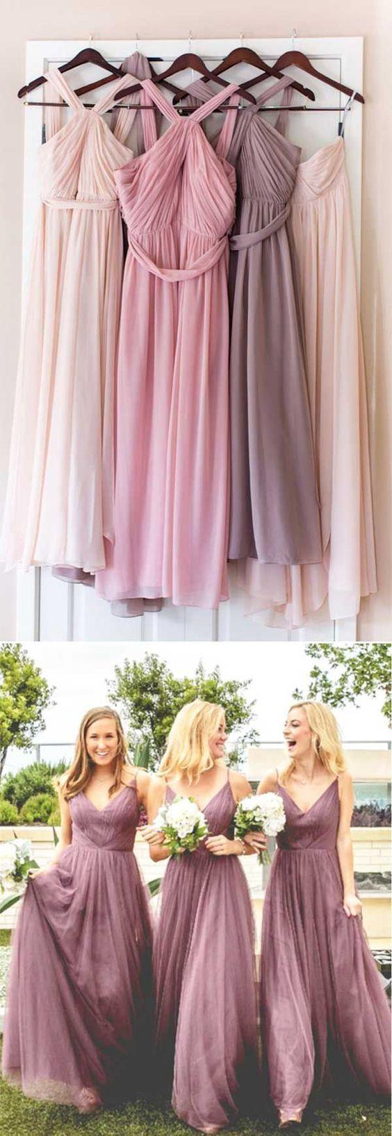 Elegant long floorlength dress for wedding party bridesmaid