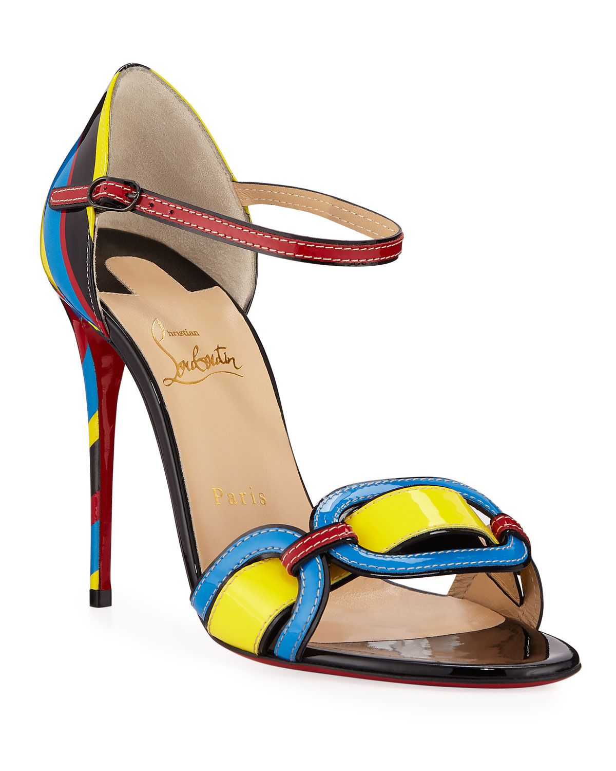 6c7299386d8 Christian Louboutin Valparaiso Colorblock Patent Red Sole Sandals in ...