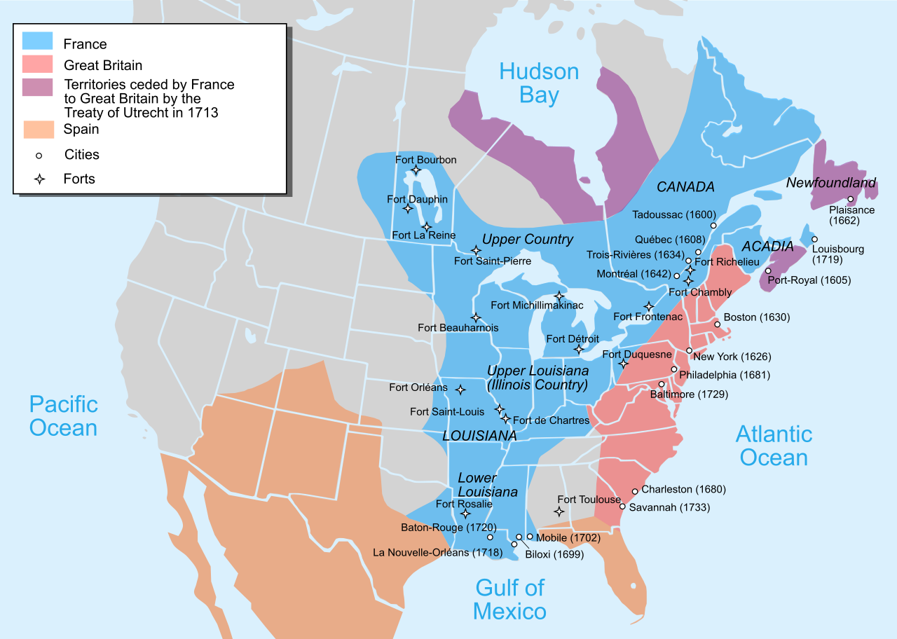 Map Of The British And French Settlements In North America In - Baltimore usa map