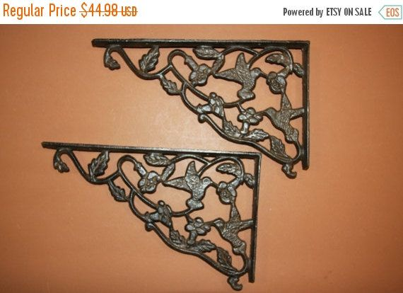 SET OF 6 LARGE HUMMINGBIRD SHELF BRACKET BRACE Rustic Antique Brown Iron