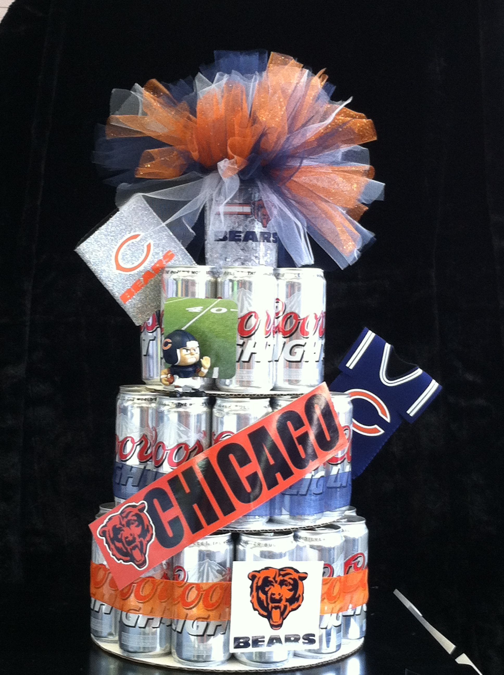 Chicago Bears Beer Can Cake